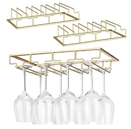 Iriisy 2 Pcs Soporte para Copas de Vino Tinto, Casa Cocina Ajustable Vino Cristal Soporte,Soporte para Copas de Vino, Estante de Almacenamiento de Acero Inoxidable (Dorado, 4 Filas 2pcs)