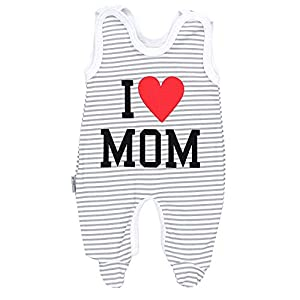 TupTam Pelele para Bebé con la Frase I Love Mum and Dad, I Love Mom/Rayas Grises, 62