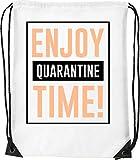Enjoy Quarantine Time Bolsa con cordón Saco Senderismo Gimnasio