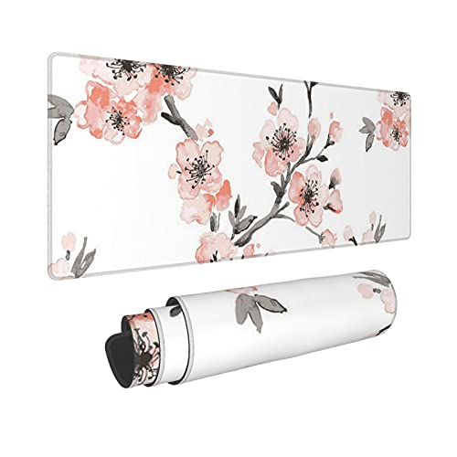 Light Coral Cherry Blossom Large Gaming Mouse Pad Computer Keyboard Mouse Mat Desk Pad with Non-Slip Base Water Resist Keyboard Pad for Office Gaming and Home (12 X 31.5 Inch)