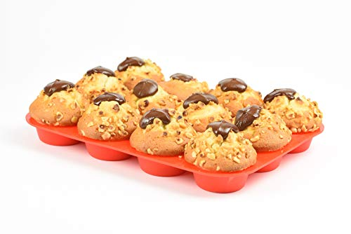 Premium silikon Muffinförmchen für 12 Muffins | BPA-frei und Antihaftbeschichtung | spülmaschinenfeste Muffinform | leicht zu reinigen | Cupcake und Brownie Backform Backblech (rot)