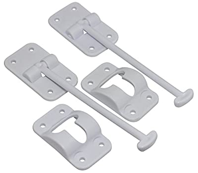 "Hamilton Bowes 2 Pack: RV T-Style Door Holder Catch 6"" for Latch Holder Camper Trailer Cargo Hatch White"