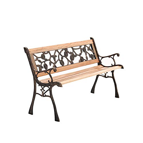 The Fellie Garden Wooden Bench 3 Seater Outdoor Wood Bench Slat Park Seat with Iron Legs Model B (L125xW50xD72cm)