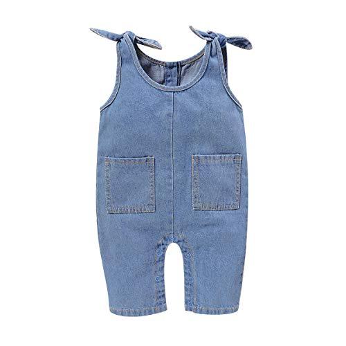 Camidy Kleinkind Baby Einteilige Mode Denim Overall Ärmellosen Riemchen Body mit Tasche für 0-18 Monate