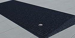 small EZ-ACCESS TRANSITIONS Black Rubber Corner Entrance Mat, 1.5 inch