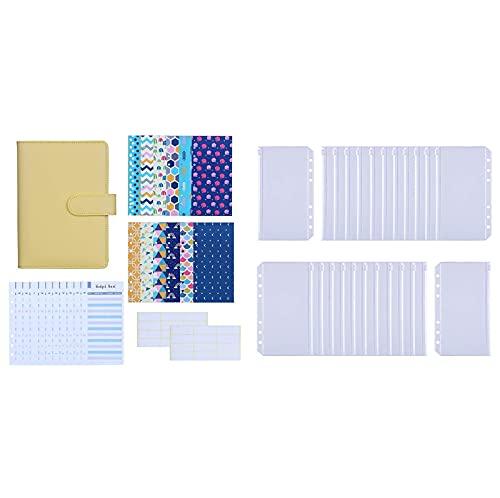 Antner 27pcs A6 PU Leather Binder Budget Cash Envelopes System (Yellow) Bundle   24 Pieces A6 Size Binder Pockets