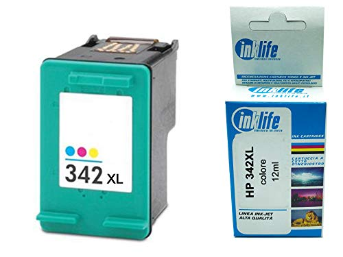 Cartucho reconstruido Inklife compatible con HP 342 XL color para HP DeskJet 5420V, 5432, 5438, 5440, 5440V, 5440XI, 5442, 5443, 6313, D4145 (XL)