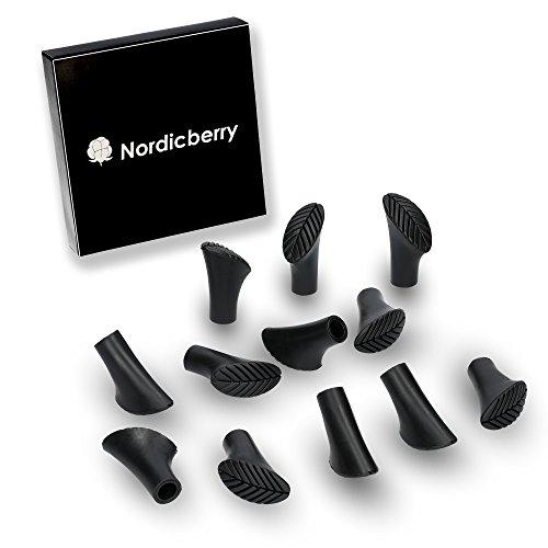 NORDICBERRY D&S Vertriebs - Juego de 12 almohadillas de goma para bastones de marcha nórdica (6 pares)