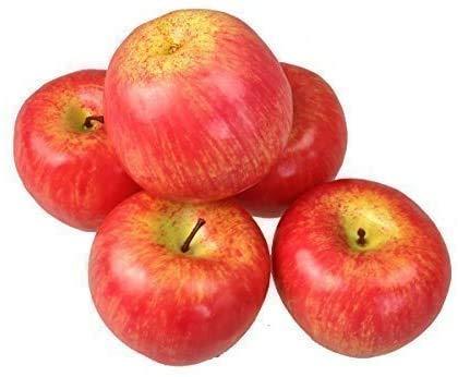 Frutta artificiale, frutta artificiale, decorazione mela (rosso, 5 pezzi di qualità leggera)