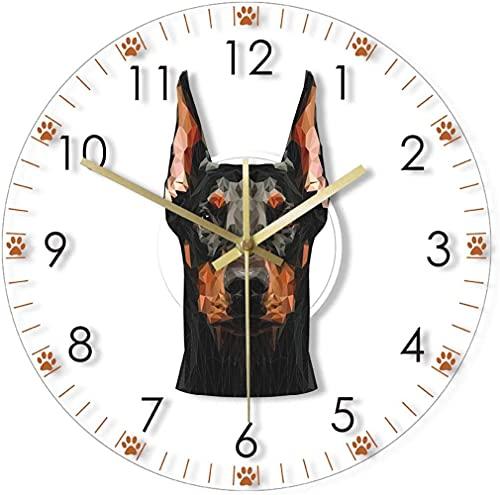 Decoración grande reloj de pared Doberman Pinscher cabeza acrílico reloj de pared Doberman Retrato sin tictac MUJER MUDE MUJER RELOJ DE MUJER DE LA CABEZA DE LA DORCULA DE POR PUPPY REGULAR DE AMOR DE