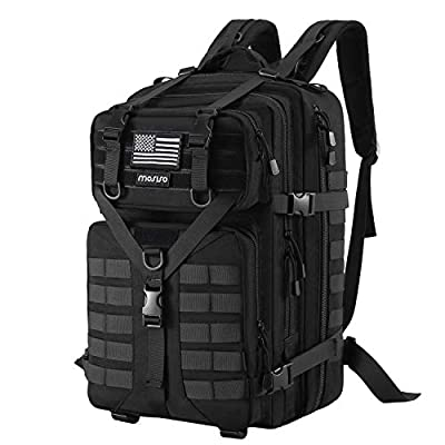 MOSISO 50L Tactical Backpack, Large Men 1000D Polyester 3 Day Assault Molle Rucksack Military Daypack Shoulder Bag with USA Flag Patch for Outdoor Hiking Hunting Fishing Camping Training, Black