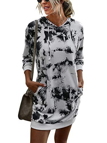 LOGENE Women's Tie Dye Printed Long Hoodie Sweatshirt Casual Long Sleeve Pullover Hoodie Dress with Pockets (1# Black & White, XL) 265-heibai-XL
