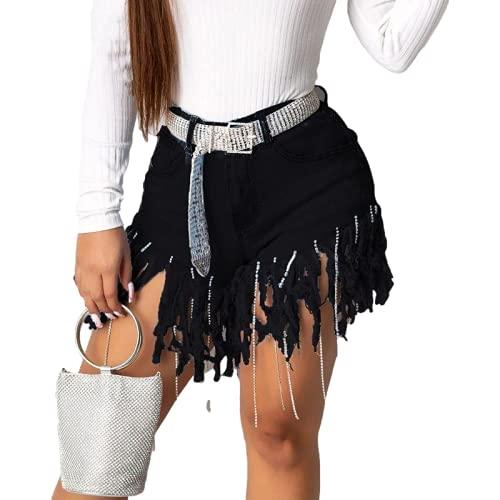Pantalones Cortos de Mezclilla para Mujer Pantalones Cortos Casuales Rectos con Flecos de Personalidad de Moda callejera de Verano Pantalones Cortos Sexis Europeos y Americanos XL