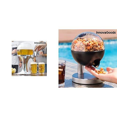 InnovaGoods Ball Dispensador de Cerveza Refrigerante, PMMA, Plateado, 24x24x42 cm + Mini Dispensador Automático De Caramelos Y Frutos Secos, Multicolor (IGS IG11396)