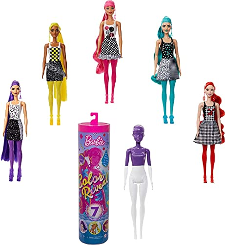 Barbie Color Reveal Doll with 7 Surprises: 4 Mystery Bags Contain Surprise Hair Piece, Skirt, Shoes & Earrings; Water Reveals Doll's Look & Color Change on Bodice & Hair; Color-Block Series