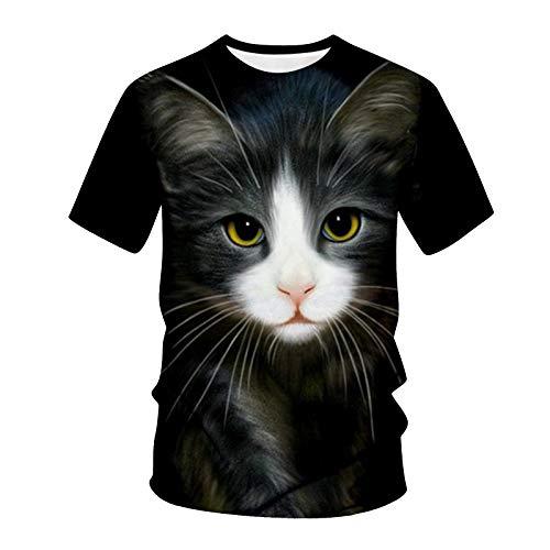 T-Shirt Top Männer Frühling Sommer Lässig Schlanke 3D-gedruckte Kurzarmbluse (3XL,7Mehrfarbig)