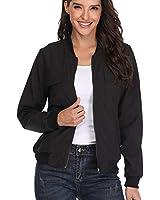 MISS MOLY Bomber Jackets for Women Zip Up Long Sleeve Casual Lightweight Biker Coat Black M