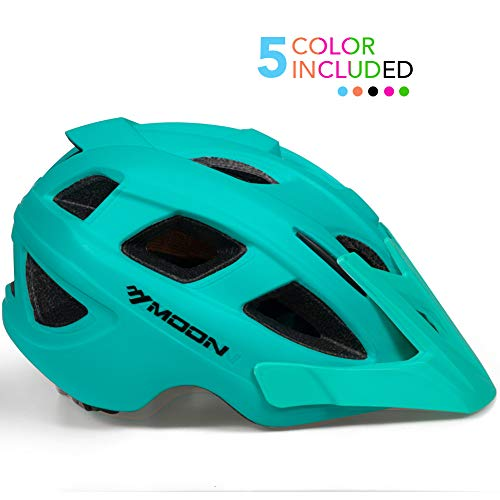 MOON Kids Bike Helmet,Knucklehead Unisex Youth Mountain Road Bicycle Helmet for Girls and Boys with Detachable Visor (Turquoise, M)