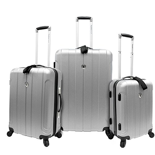Big Sale Travelers Choice Luggage Cambridge Three Piece Hardshell Spinner Set, Silver Gray, One Size