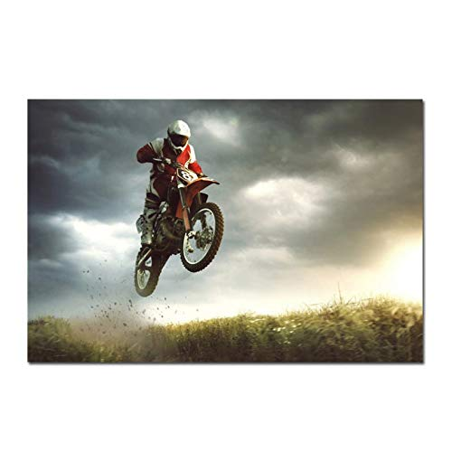 SLFWCLH 1 Canvas Poster Motorcycle Art Poster Mountain Motocross Silk Posters Motorbike Prints Sports Man Boy Room Decor Canvas Picture