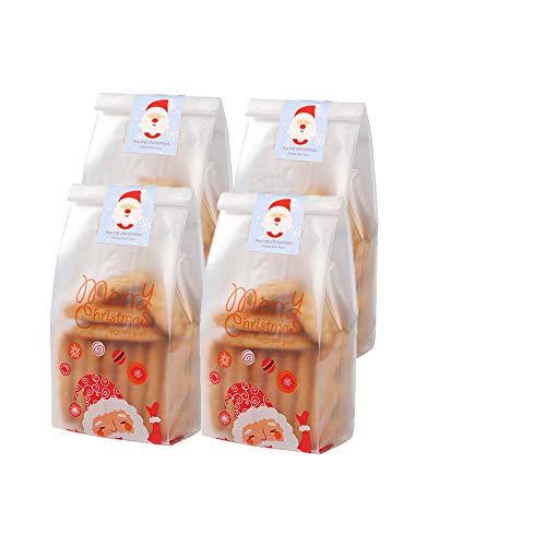 Partytüte Candy Tüten Partytüten Süße Tasche Kunststoff Weihnachten Goody Bags für Hochzeitstag Frohe Weihnachten Weihnachten Geschenkbeutel, Mit Aufklebern (50Stück, 23 * 8.5CM)