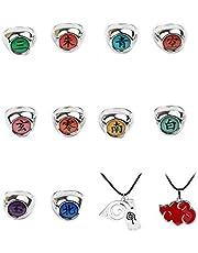 Jintoong - Set de 10 anillos de Naruto Akatsuki para cosplay, en caja, con 2 collares