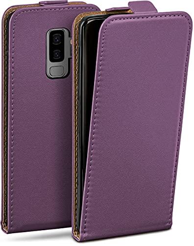 moex Flip Hülle für Samsung Galaxy S9 Plus - Hülle klappbar, 360 Grad Klapphülle aus Vegan Leder, Handytasche mit vertikaler Klappe, magnetisch - Lila