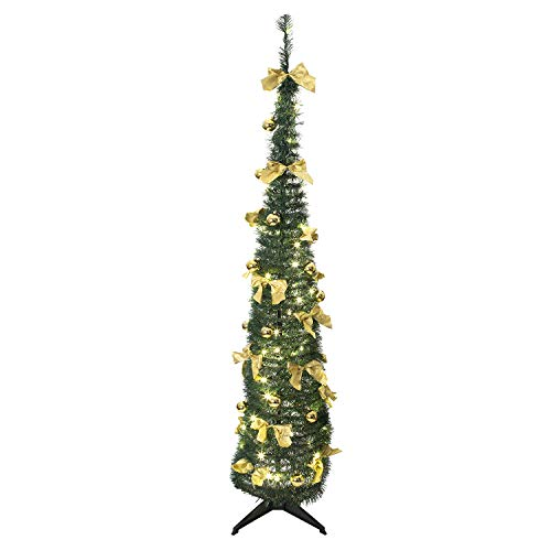 Bravich Green Pop Up 6ft Xmas Tree 60 LED Bows Baubles Pre-Decorated Pre-Lit Slim