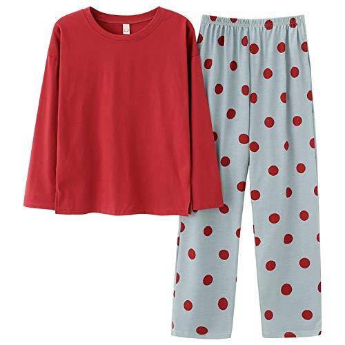 DFDLNL Ropa de Dormir de otoño de Manga Larga con Pantalones de Lunares Pijamas para Mujer Pijamas de Cuello Redondo para Mujer Traje Holgado para el hogar XL