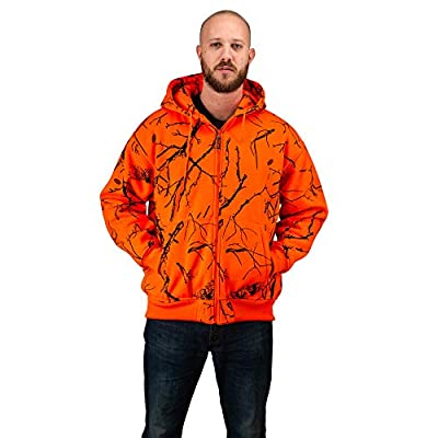 TrailCrest Men's Safety Blaze Orange / Camo Double Fleece Full Zip Hoodie, Orange Camo, 2X