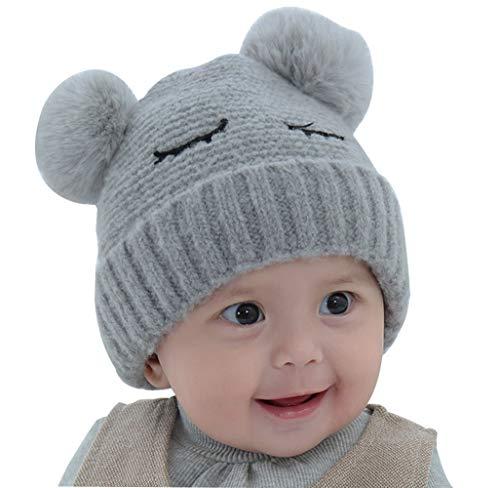 FEOYA - Fille Bonnet en Tricot Bébé Hiver Chapeau Maille à Oreilles Garçon Enfants Bonnet en Tricoté Beanie avec Pompon Chaud Automne - Gris