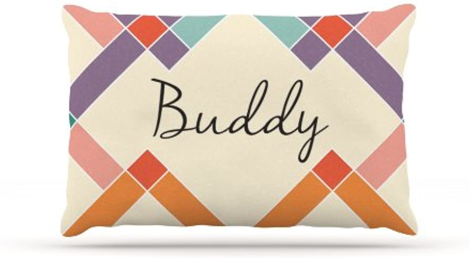 Kess InHouse Buddy  colorful Geometry Name Fleece Dog Bed, 30 by 40Inch, Rainbow Tan
