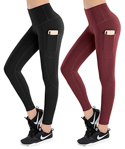 LifeSky High Waist Yoga Pants Workout Leggings for Women with Pockets Tummy Control Soft Pants, Pack of 2, M