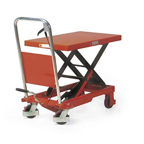 Stabilux Hubtischwagen, Einfachschere, Traglast 300 kg, Hubhöhe 900 mm, Ladefläche 850x500 mm, Rot