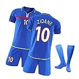 CWWAP Jersey Football Enfants et Adulte 2000 Français N ° 10 Zidane Jersey, T-Shirts et Shorts de Football de Football Vintage, Set d'uniformes de Formation #10-2XL