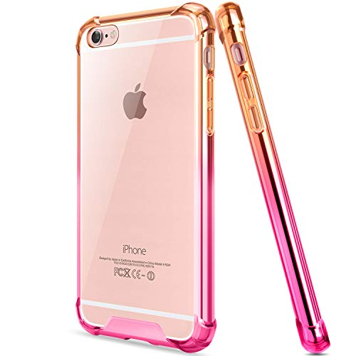 Salawat for iPhone 6 Case, Clear iPhone 6s Case Cute Anti Scratch Slim Phone Case Cover Reinforced TPU Bumper Shock Absorption Protective Case for iPhone 6/6s 4.7inch (Orange Pink)