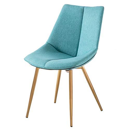 HYXI-Stuhl Prägnante Textile Linen Dining Chair - Haushalt Rückenlehne Küche Beistellstühle - Edelstahl Titanbeschichtung Prozess Stuhlbeine
