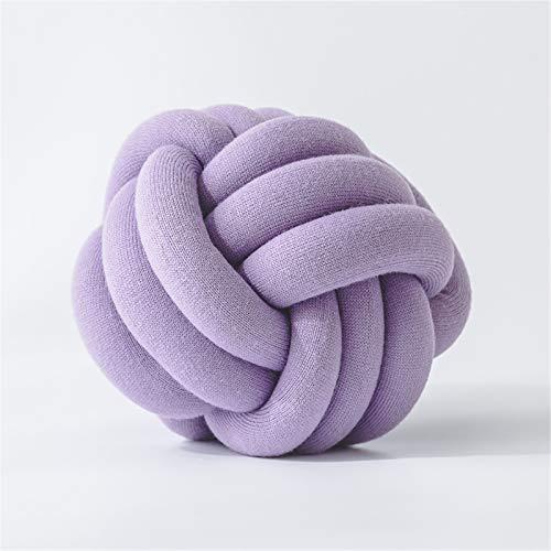 Cojín suave anudado, cojín de peluche, cojín decorativo para el pelo, para dormitorio, sofá, coche, oficina (morado)