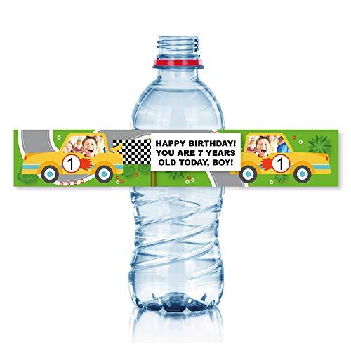 15 Etiquetas personalizadas para fiestas y cumpleaños: modelo CARS. Tamaño botellas de...