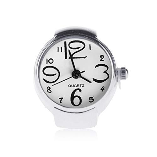 Guangcailun 5 Colores Unisex Hombres Mujeres Pares del Anillo Reloj Unisex Reloj Suena Relojes de Dedo elástico Correa de Acero Inoxidable