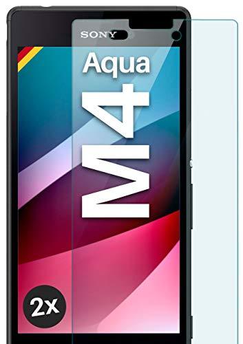 moex Panzerglas kompatibel mit Sony Xperia M4 Aqua - Schutzfolie aus Glas, bruchsichere Bildschirmschutz Folie, Crystal Clear Panzerglasfolie, 2X Stück