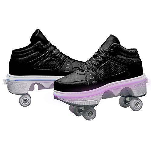 HANHJ Ruedas Ajustables Aire Libre Y Deportale Gimnasia Zapatillas De Skate para Niños Zapatillas Con Ruedas Botas De Patines De 4 Ruedas,Black-40