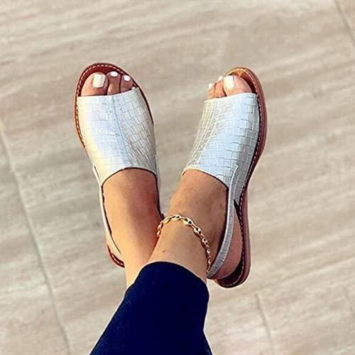 WoJogom Sandalias de Mujer 2021 Zapatillas de Verano para Mujer Zapatillas Planas con Punta Abierta Cómodas Zapatos Casuales sin Cordones