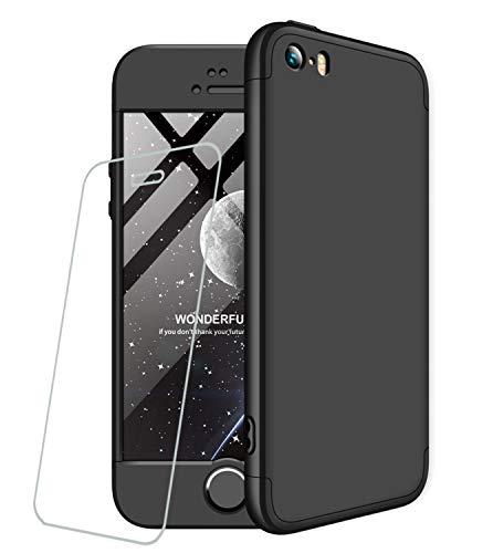 Cover per iPhone 5/5S/SE+Pellicola protettiva per film in vetro temperato 360 gradi Ultra sottile Tutto incluso Protezione 3 in 1 cover del telefono PC case JOYTAG-Nero