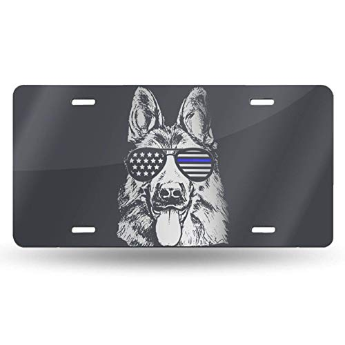 POUDBDH K9 Police American Flag German Shepherd Thin Blue Line Novelty License Plate Cover Vanity Metal Tag for Front of Car 6 X 12 Inch