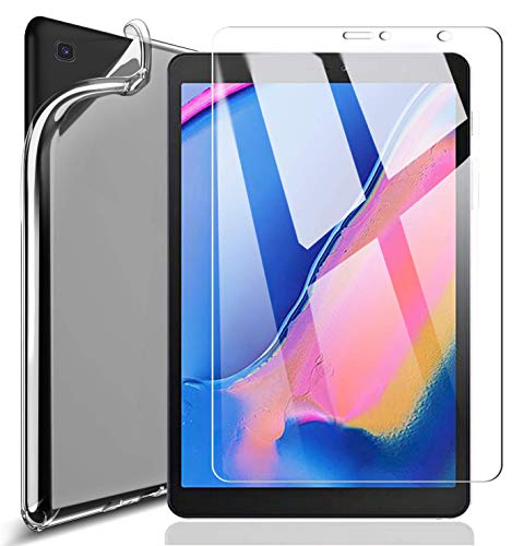 Domxteck (2 in 1 Pack) Transparent TPU Silicone Case Protective Cover +9H screen protector for Samsung Galaxy Tab A 8.0 2019 SM-P200 / SM-P205 with S pen.
