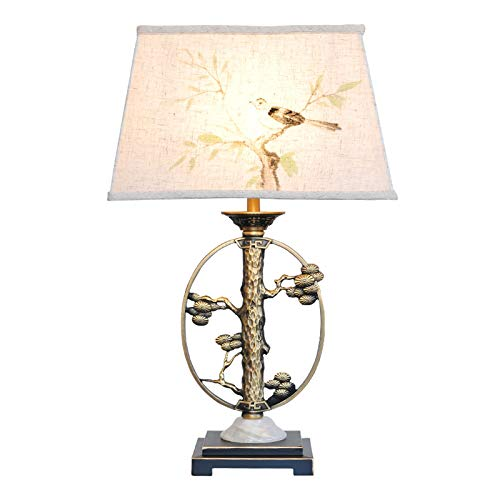 Lámpara de escritorio para sala de oficina 24.4' lámpara de mesa Arte de cobre LED de la lámpara tradicional de cabecera por un dormitorio, sala de estar, oficina, dormitorio de la universidad, Mesa d