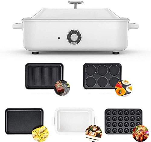 ZYF Adjustable Weight Bench Gym Bench Household Multi-Function Barbecue Frying Pan, Electric Hot Pot,Heated Electric Multifunction Compact + Plate Takoyaki + Covered Pot Ceramic Plate (Color : White)