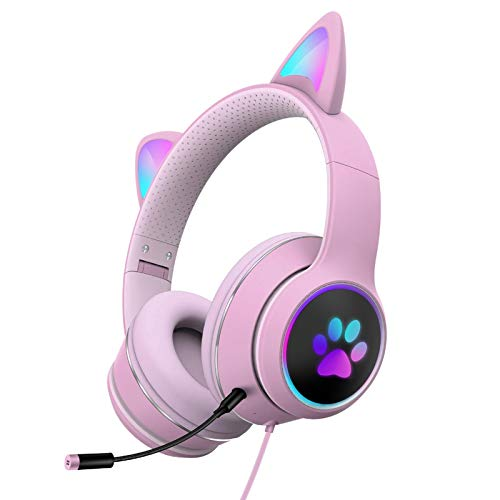 Auriculares con luz LED para orejas de gato con micrófono plegable sobre el oído Juego de auriculares de gato Auriculares de juego RGB USB Gaming Headset para PC, teléfono móvil
