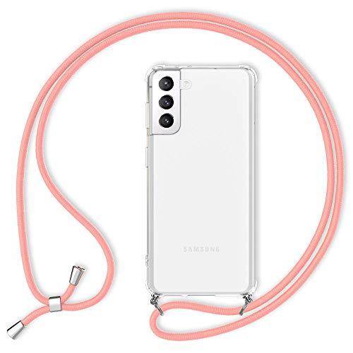 Kaliroo Claro Necklace Case Compatible con Samsung Galaxy S21 Funda, Transparente Carcasa Protectora Rigida con Cordon, Delgado Cubierta Resistente Slim Hardcover & Correa Colgante, Color:Pink Rosado
